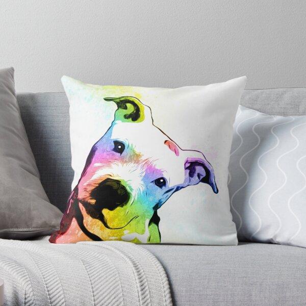 Pit bull | Rainbow Series | Pop Art Throw Pillow