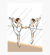 Girl practicing ballet in front of a mirror Photographic Print