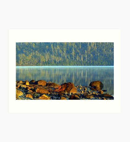 Colaboration of Early Morning Lake St Clair Art Print