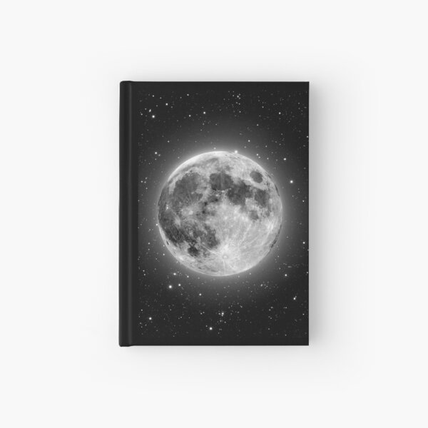 Bright, beautiful full Moon and stars photo Hardcover Journal
