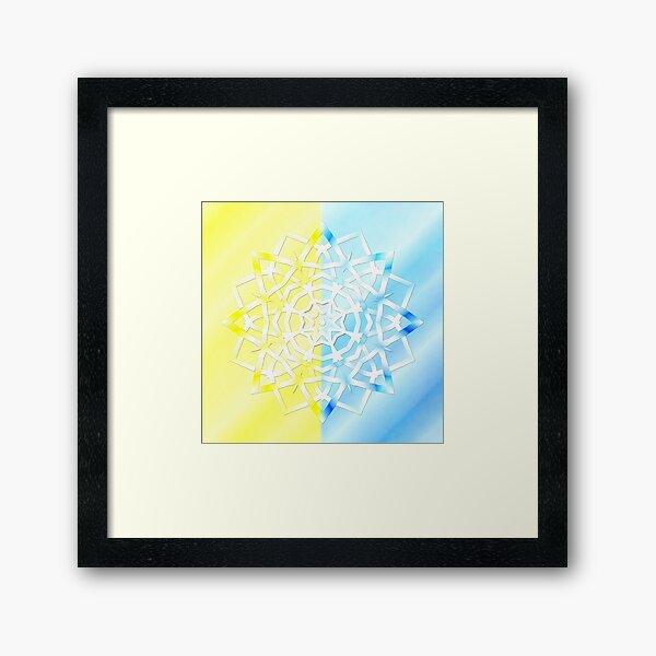 Mandala Schneeflocke Gerahmter Kunstdruck
