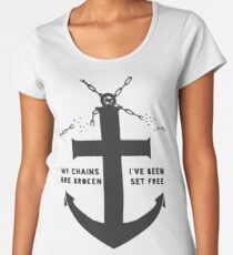 Anchored Cross (grey) Women's Premium T-Shirt