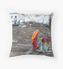 Saris in the Rubbles Throw Pillow