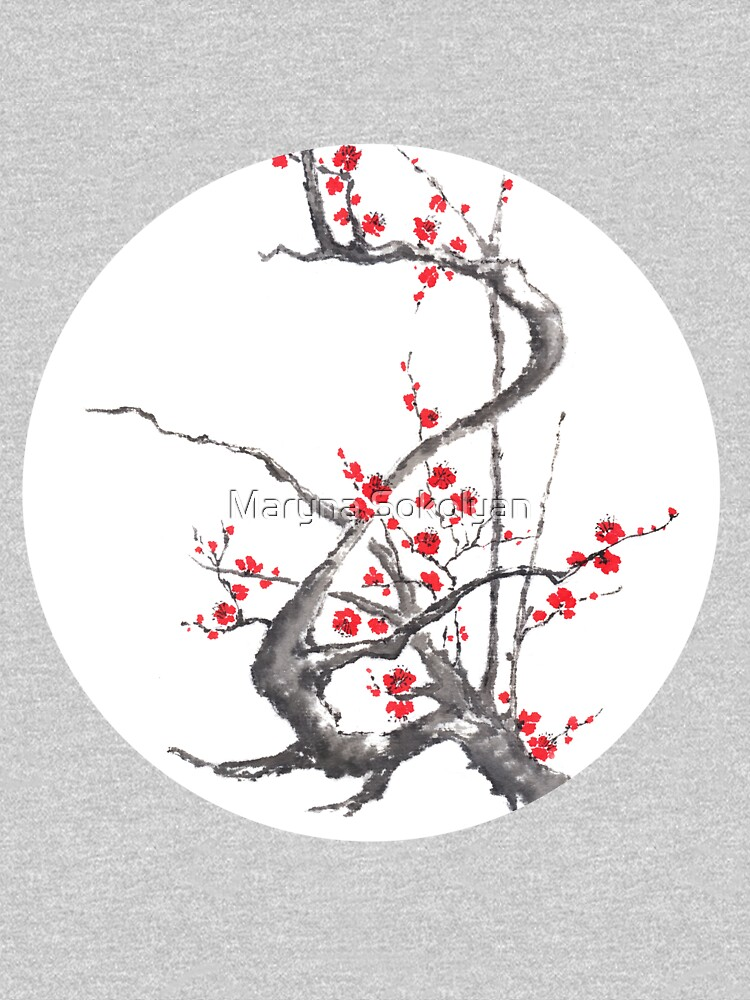 Chinese plum tree blossom sumi-e painting by Umi-ko