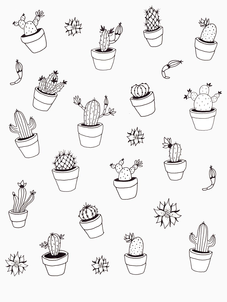 Cactus illustrated pattern by mirunasfia