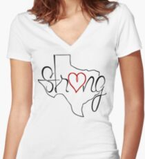 Texas Strong Tee Women's Fitted V-Neck T-Shirt