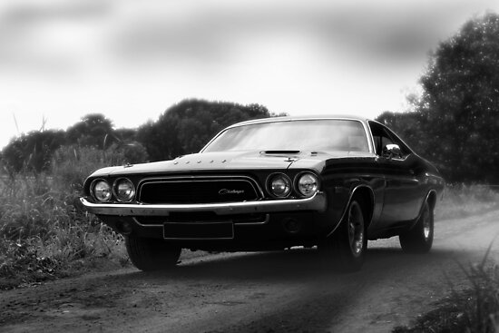 Dodge Challenger Classic Car Black White Posters By Hottehue