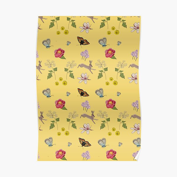Butterflies and hares ditzy pattern Poster