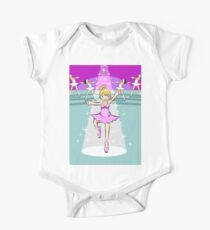 Blonde girl dancing ballet in a pink dress under a reflector and a rain of white stars Kids Clothes