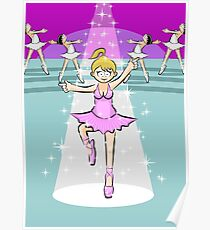 Blonde girl dancing ballet in a pink dress under a reflector and a rain of white stars Poster