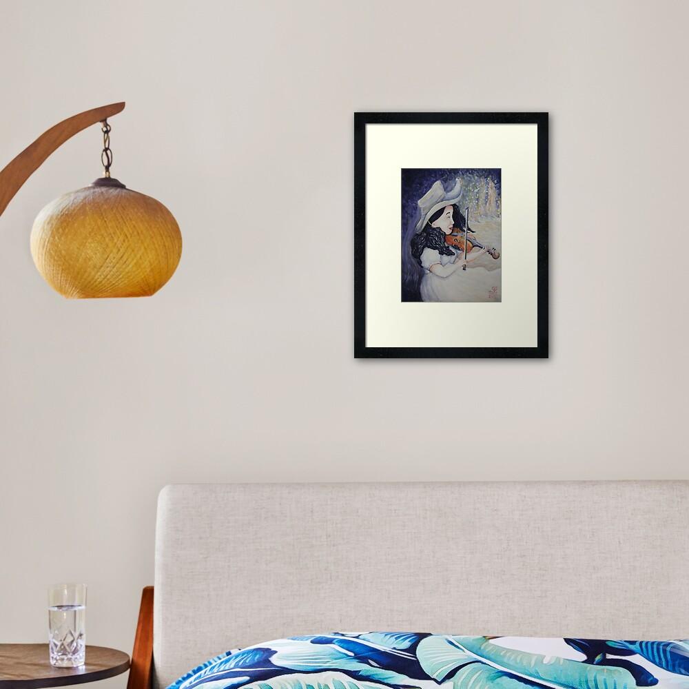 Woman's Autumnal Twilight Serenade Framed Art Print