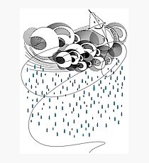 Cute kite dancing in the storm - modern art Photographic Print