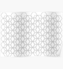 NORDIC EXAGON WIRE PATTERN - GREY 01 Poster