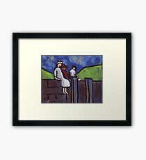 Children on a wall Framed Print