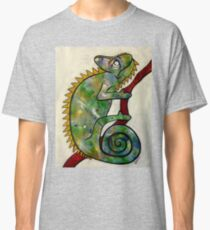 colorful chameleon on red branch Classic T-Shirt