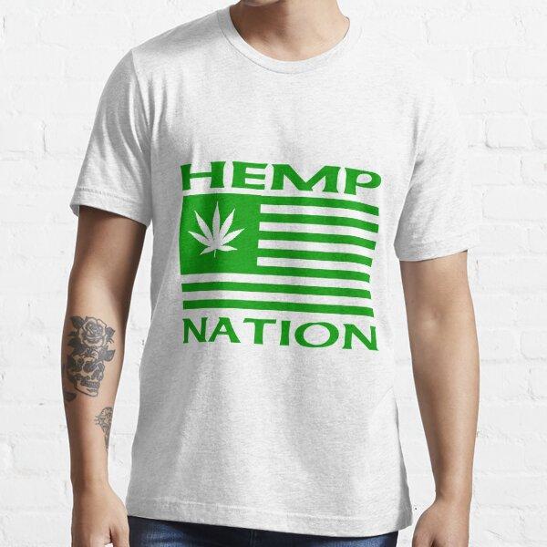Hemp Products USA  Hemp Nation Leaf flag  Essential T-Shirt
