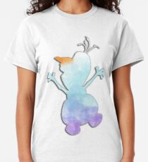 Blue and purple watercolor snowman Classic T-Shirt