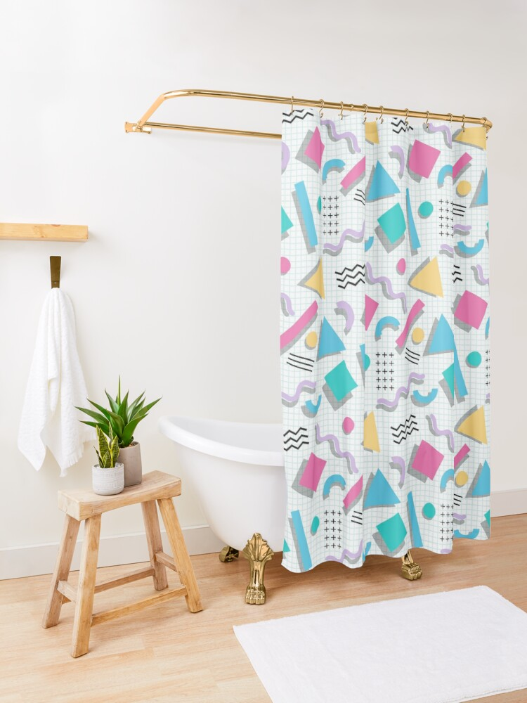 Alternate view of Memphis Shapes Shower Curtain