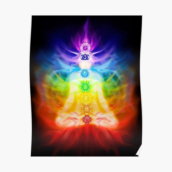 Chakras and energy flow on human body art photo print Poster