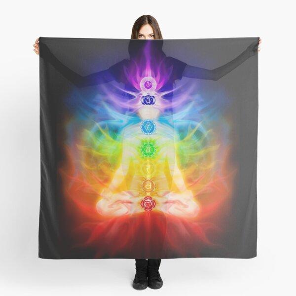 Chakras and energy flow on human body art photo print Scarf