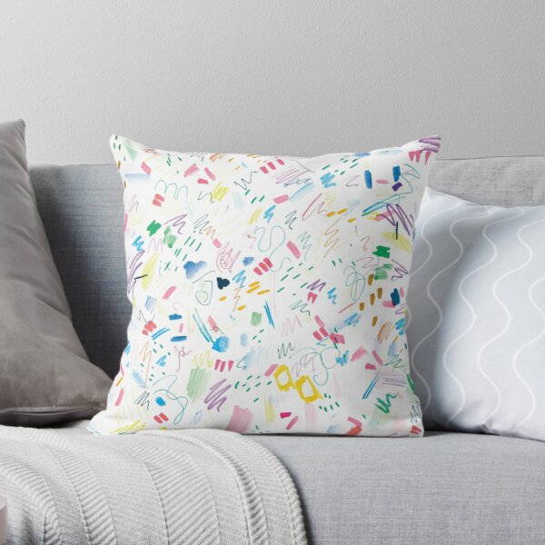 Colourful Messy Swatch Pattern Throw Pillow