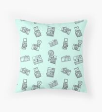 Vintage Cameras Pattern Mint Throw Pillow