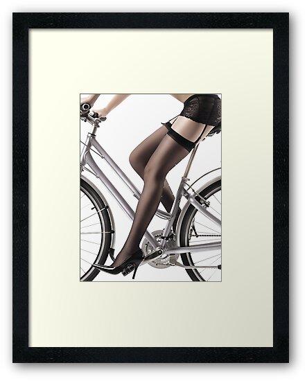 Sexy Woman Riding a Bike art photo print by ArtNudePhotos