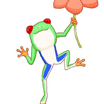 Red-eyed Tree Frog and Flower by PewterKat