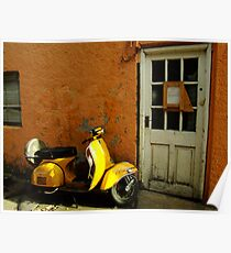 Vespa At The Door Poster