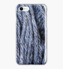 Cornflower Blue Yarn Texture Close Up iPhone Case/Skin