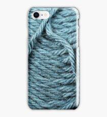 Pastel Blue Yarn Texture Close Up iPhone Case/Skin