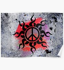 Cool Peace Sign with Paint Poster
