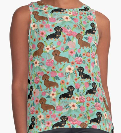 Dachshund florals dog breed pet friendly pattern gifts Sleeveless Top