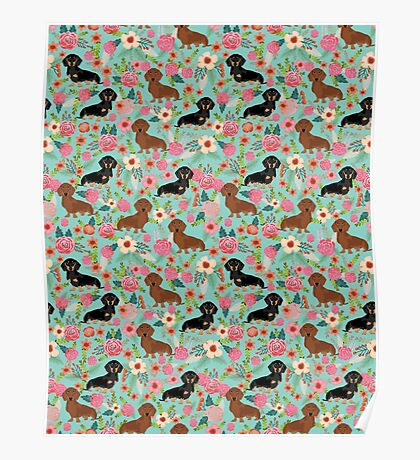 Dachshund florals dog breed pet friendly pattern gifts Poster