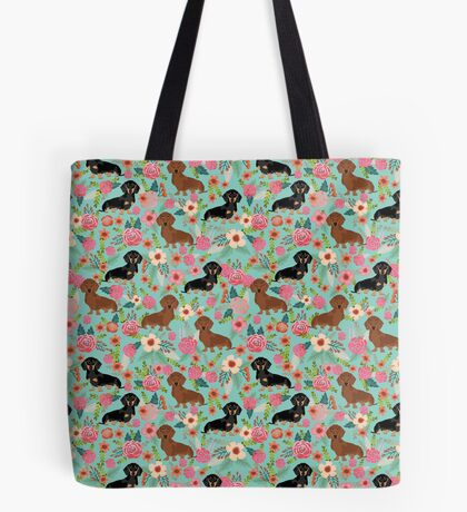 Dachshund florals dog breed pet friendly pattern gifts Tote Bag