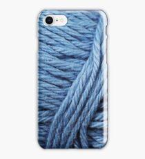 Blue Yarn Texture Close Up iPhone Case/Skin
