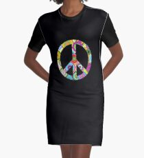Peace Sign Cool Retro Flowers Design Graphic T-Shirt Dress