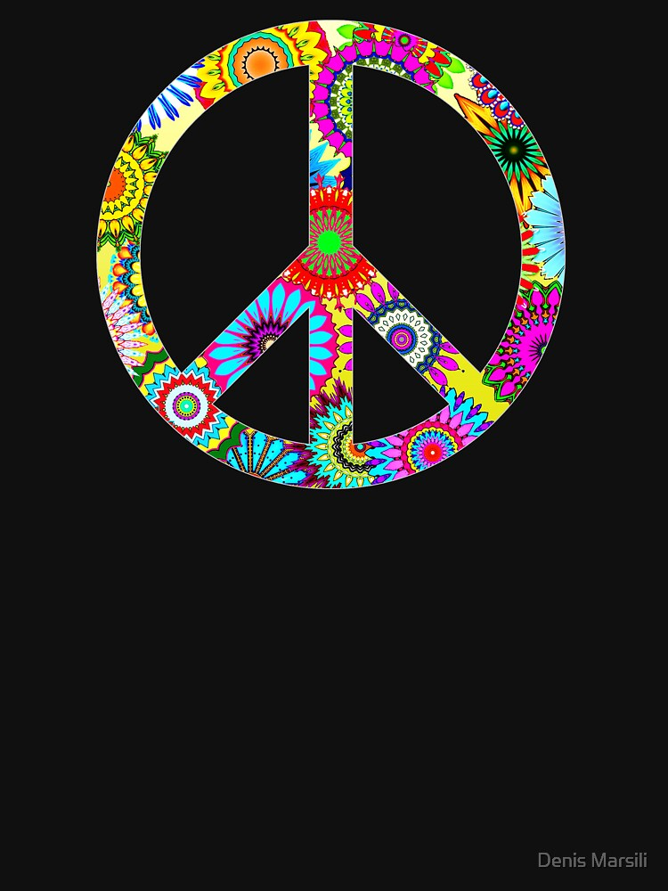 Peace Sign Cool Retro Flowers Design by ddtk