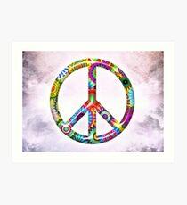 Peace Sign Cool Retro Flowers Design Art Print