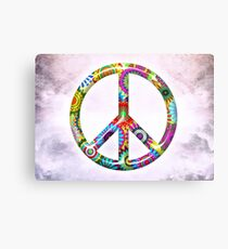 Peace Sign Cool Retro Flowers Design Metal Print