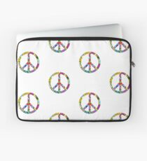 Peace Sign Cool Retro Flowers Design Laptop Sleeve