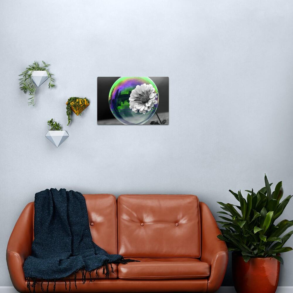 B&W Flower in a bubble Metal Print