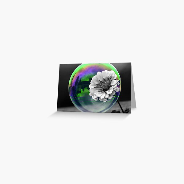 B&W Flower in a bubble Greeting Card