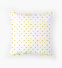 Taxi Yellow Polka Dots on White Throw Pillow