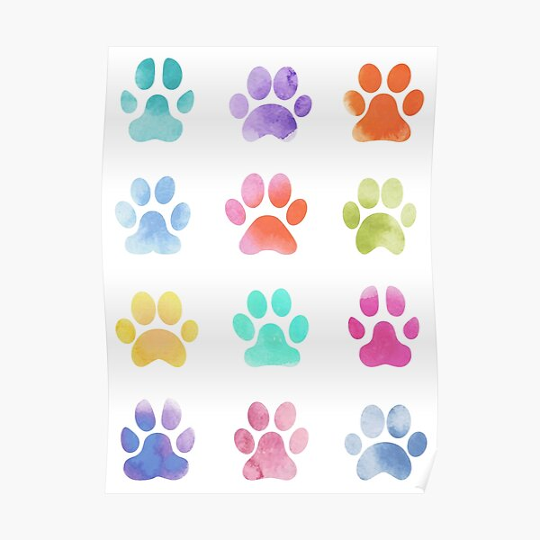 Watercolour Paw Prints, Dog Paws Poster