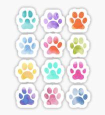 Aquarell-Tatzen-Drucke, Hundetatzen Sticker