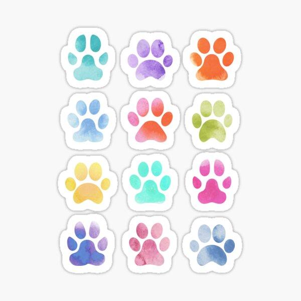 Watercolour Paw Prints, Dog Paws Sticker