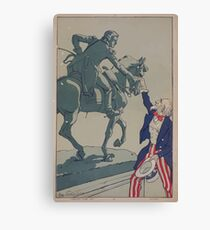 Uncle Sam shaking hands with the marquis de Lafayette 1757 1834 Canvas Print