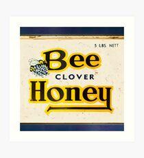 Vintage Yellow & Navy Typographic Honey Tin Design Art Print