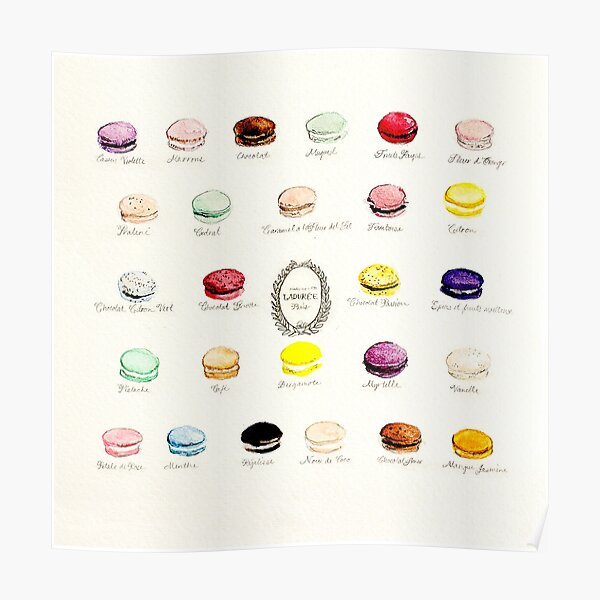 Laduree Macarons Flavor Menu Poster